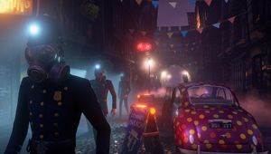 A police officer with a gas mask in festive settings from We Happy Few