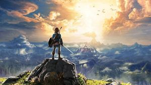Link standing on a rock overlooking Hyrule in Breath of the Wild