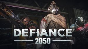 Promotional picture for Defiance 2050 showing characters in different outfit variations.