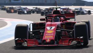 A red Formula One car from Codemasters' F1 2018