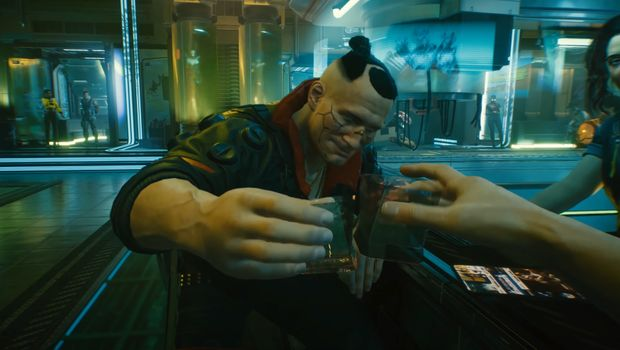 Bir çubukta iki karakter gösteren Cyberpunk 2077 ekran görüntüsü