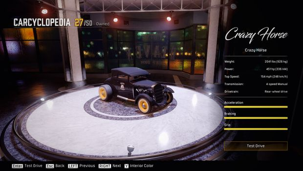 Screenshot from Mafia: Definitive Edition game, showing a car in carcyclopedia mode.