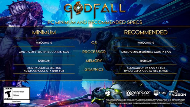 Godfall artwork showing Official PC system requirements
