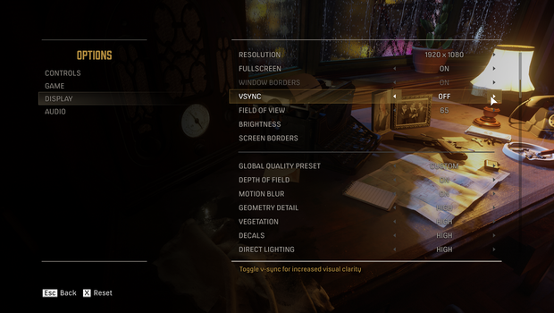 Screenshot from Mafia Definitive Edition showing in-game display settings