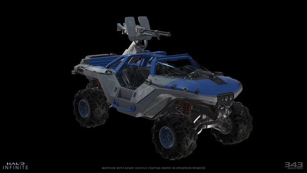 Halo Infinite's Azure skin for Warthog