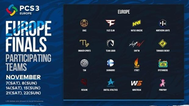 PCS3 - Europe Finals participating teams