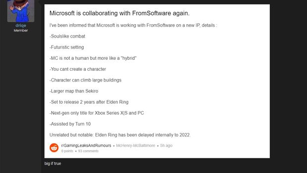 screenshot showing ms collab with fromsoftware rumour from Reddit