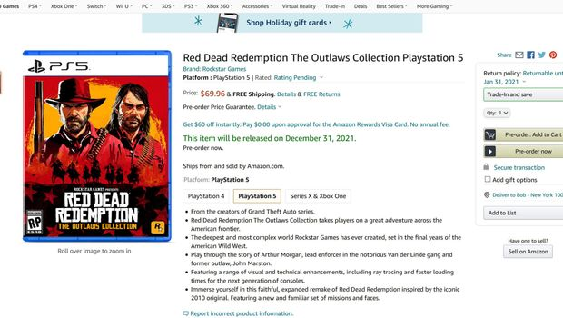 Red Dead Redemption Collection listing on Amazon