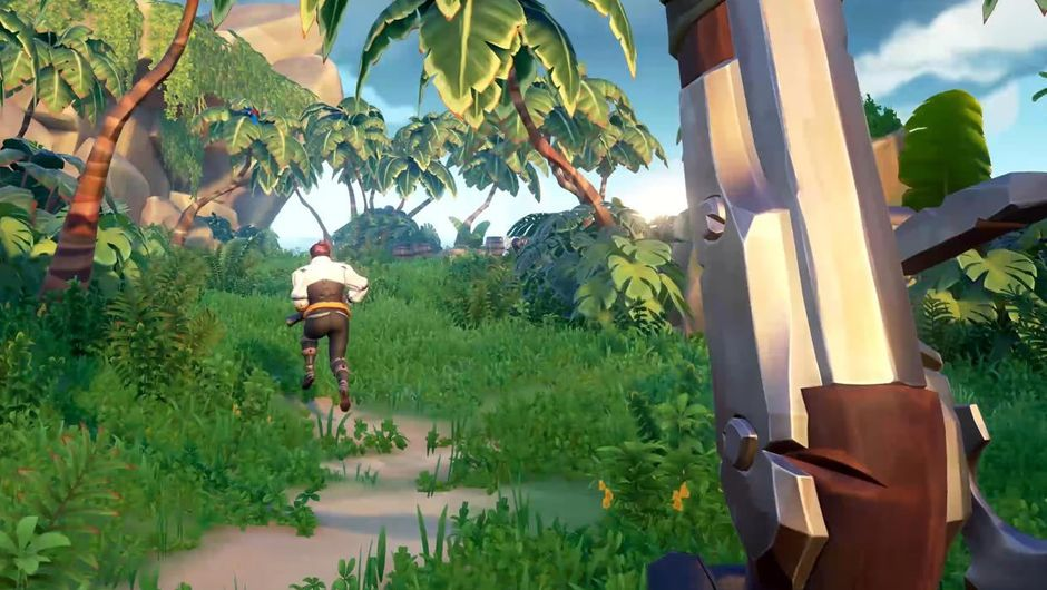Animated character walking on a road that leads into a jungle