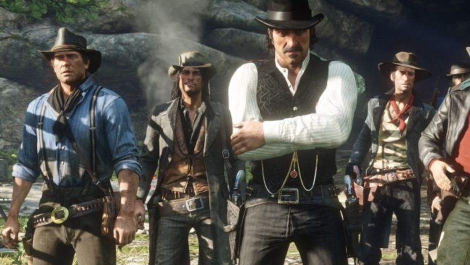 Picture of Arthur Morgan and his gang buddies in Red Dead Redemption 2
