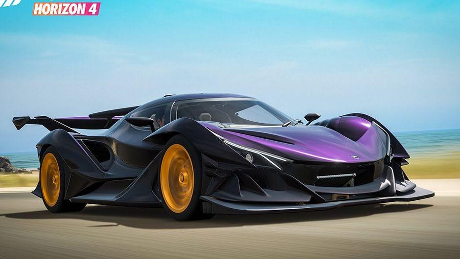 forza horizon 4 screenshot showing purple supercar with golden rims