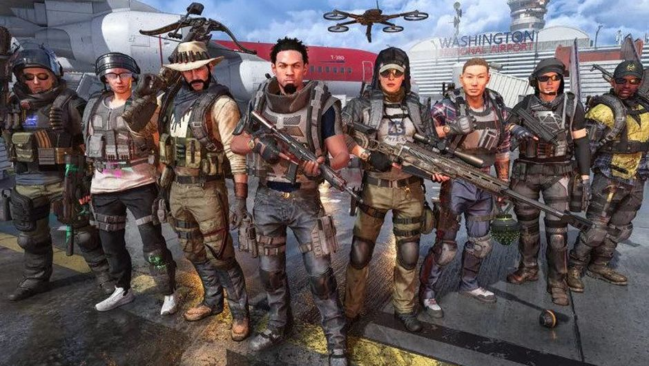 Some SHD agents posing in a promo poster for Dark Hours raid in The Division 2