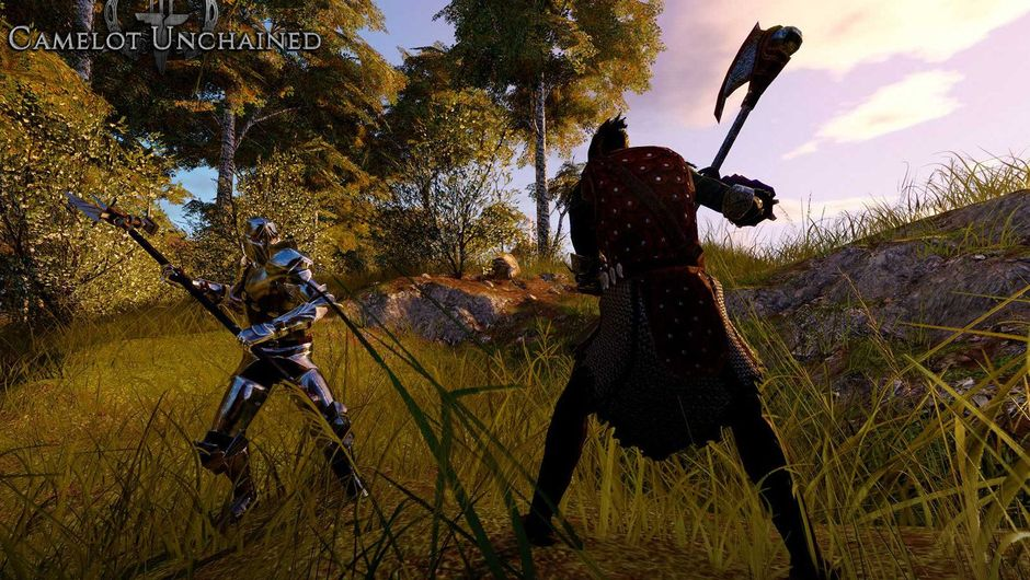 Screenshot from Camelot Unchained showing two warriors about to clash in a field covered with long yellow/green grass.