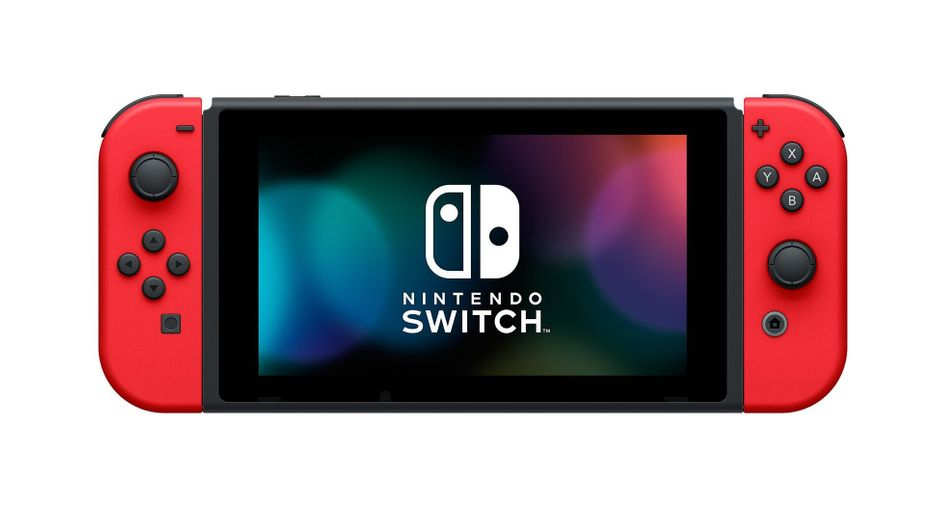 Nintendo's Switch console with red Joy-Cons attached