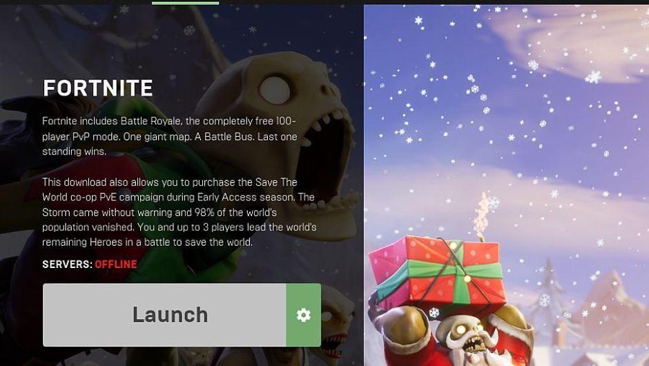 Screenshot of Fortnite BR client showing offline status.