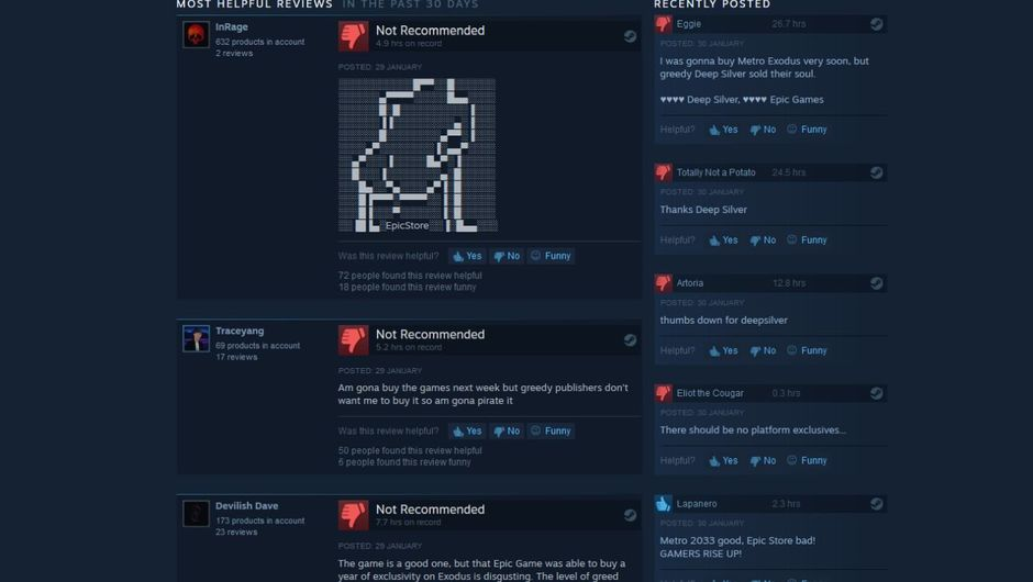 Metro Last Light Steam review page screenshot showing ASCII art and negative user feedback