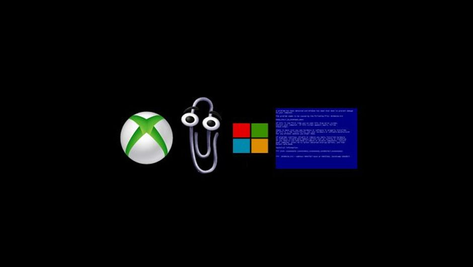 Microsoft Xbox logo, Snippit character, Windows logo and blue screen of death
