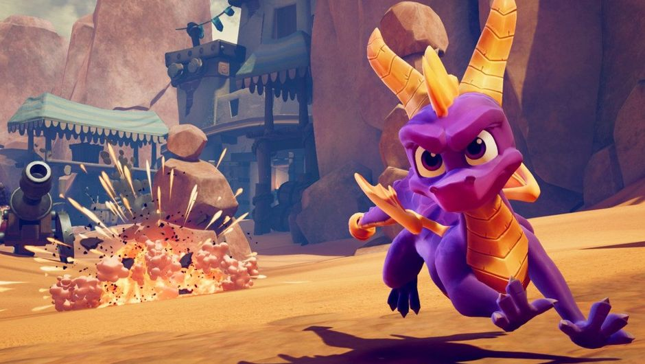 picture showing a purple dragon running away from explosion