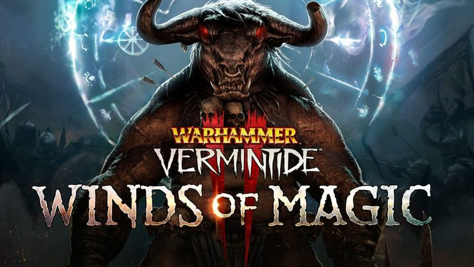 warhammer vermintide 2 screenshot showing a bull beast and winds of magic logo