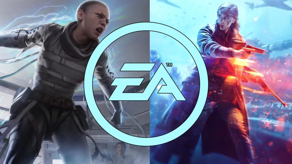 EA logo over Apex Legends and Battlefield V artwork