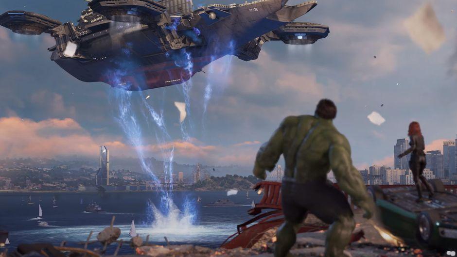 marvels avengers screenshot showing hulk and black widow