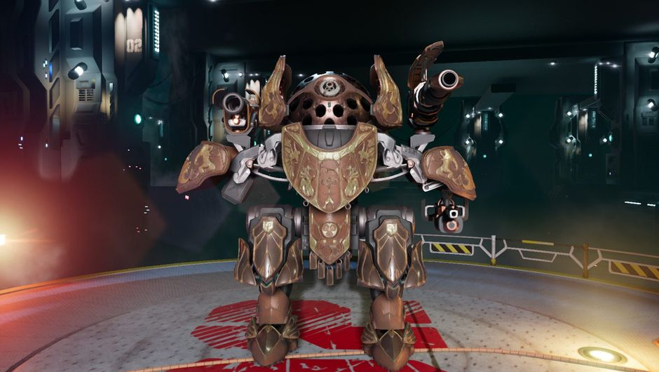 Picture of a mech in Blazing Core in a hangar