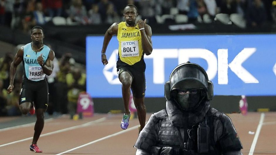 Spoof image showing Blitz's newfound speed as he leaves Usain Bolt in the dust.