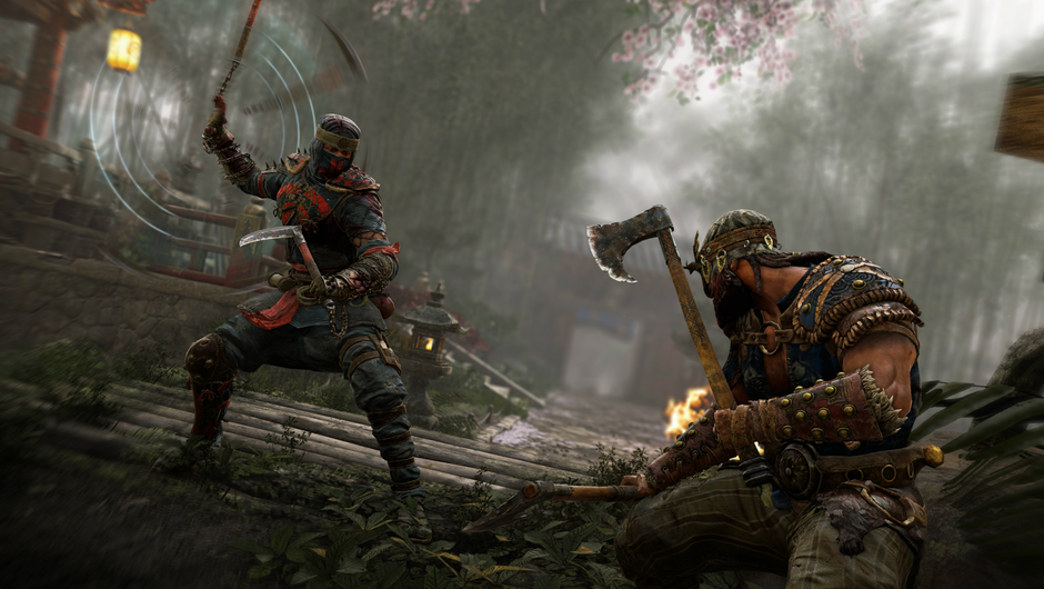 Screenshot from For Honor of a duel between Shinobi and a Berserker.