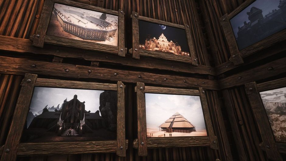 Screenshot of community in-game art from Conan exiles showing framed pictures