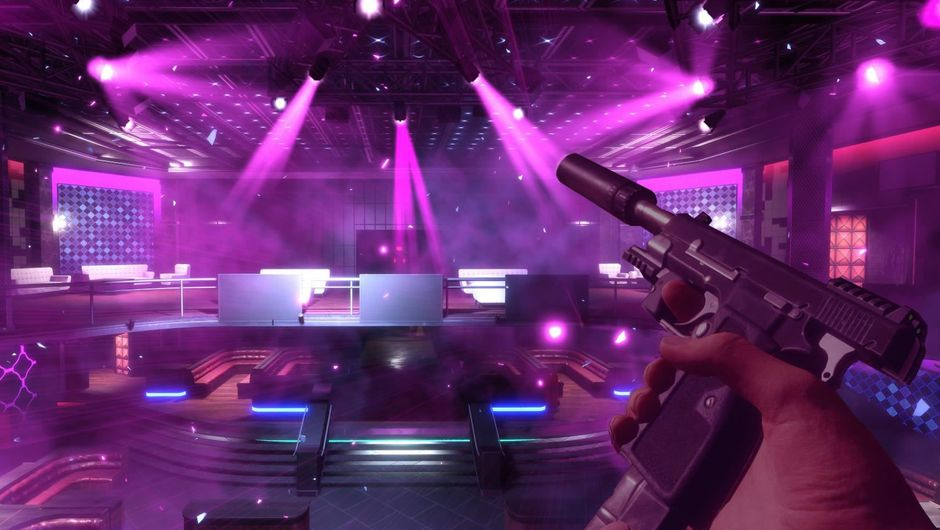 A purple-lighted club in Blood & Truth VR