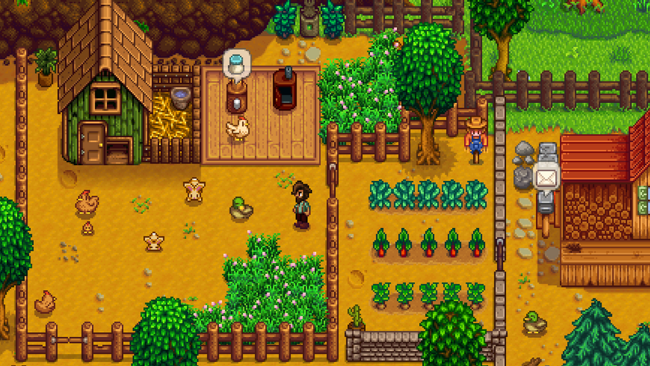 A scene from the game Stardew Valley