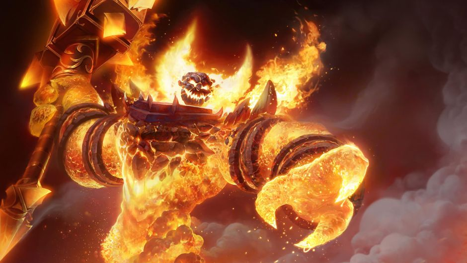 World of Warcraft, a huge burning monster