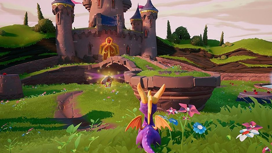 View of a field and castle in Activision's game Spyro the Dragon