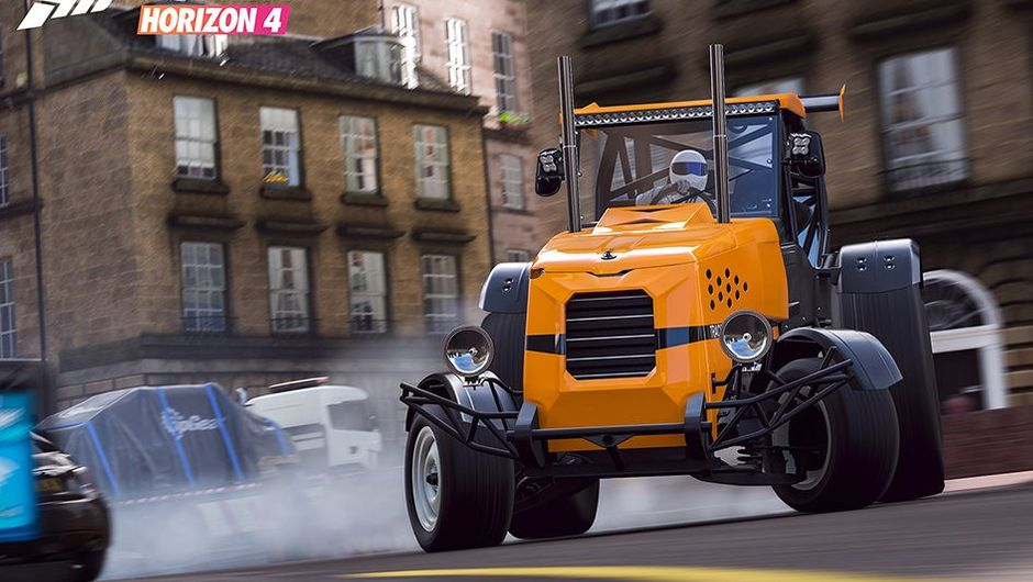 Forza Horizon 4 screenshot showing stig as he drives big tractor