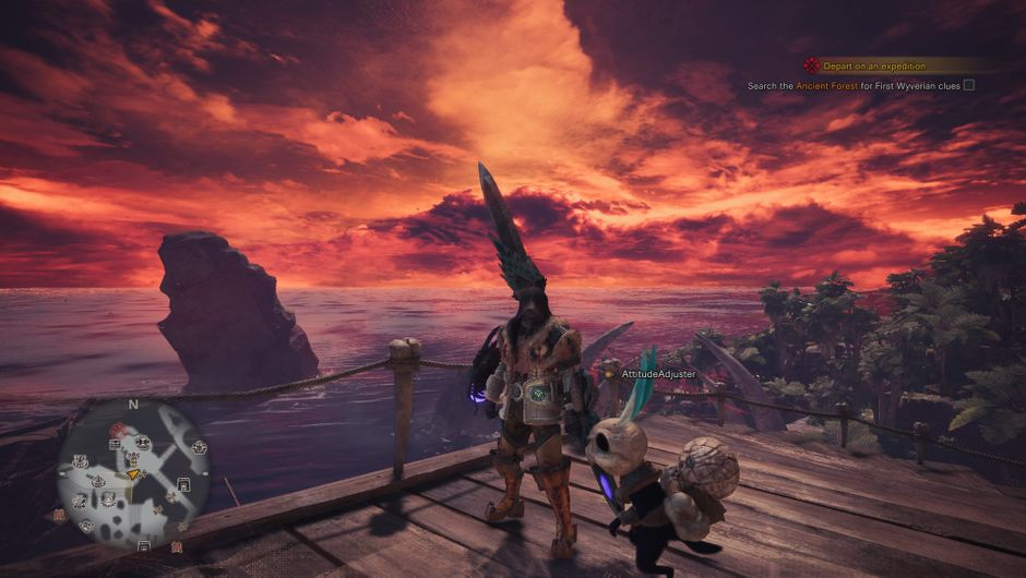 Monster Hunter: World character on a dock in sunset