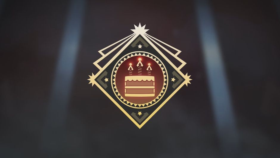 Apex Legend anniversary badge showing a birthday cake