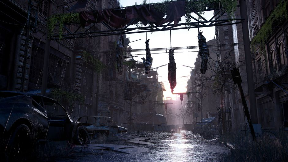 Three bodies hanging in Dying Light 2.