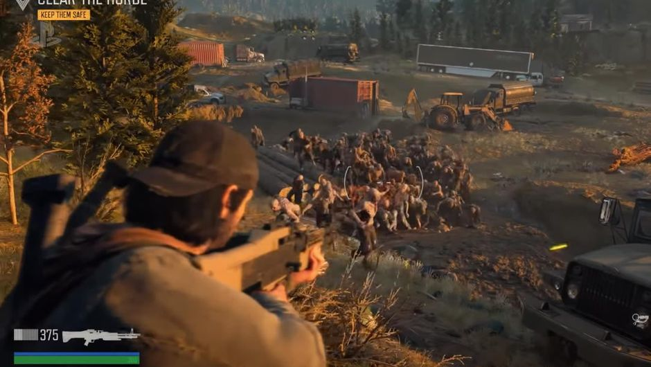 A horde of zombies running towards the player in Days Gone