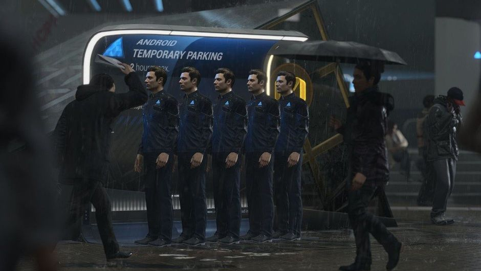 A row of clones on a rainy night in a futuristic setting