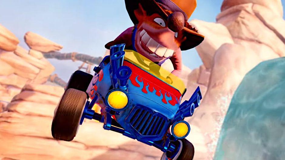Crash Team Racing: Nitro Fueled screenshot showing a character driving a blue kart car