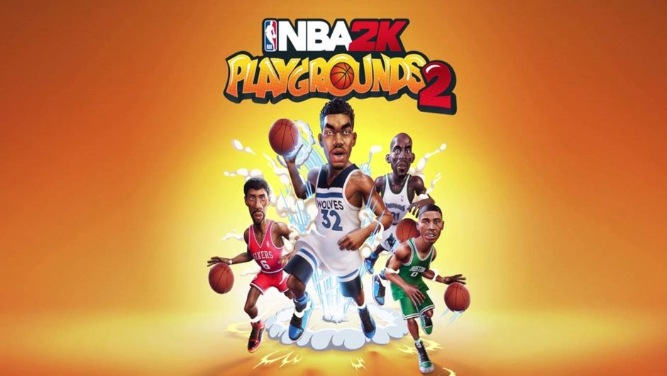 NBA 2K Playgrounds 2 promo image featuring Kevin Garnett, Jason Tatum, Karl-Anthony Towns and Julius Erving.