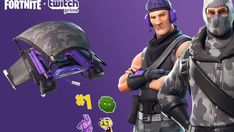Promotional picture for Fortnite and Twitch partnership showing some Twitch drops.