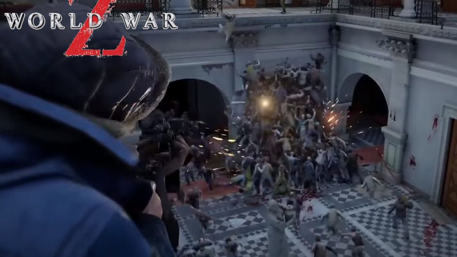 Screenshot from World War Z trailer showing a player mowing down zombies