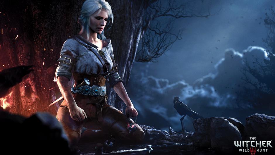 Ciri kneeling next to a campfire