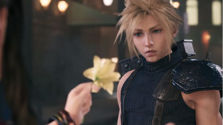 Final Fantast VII Remake screenshot showing the main character looking at yellow flower