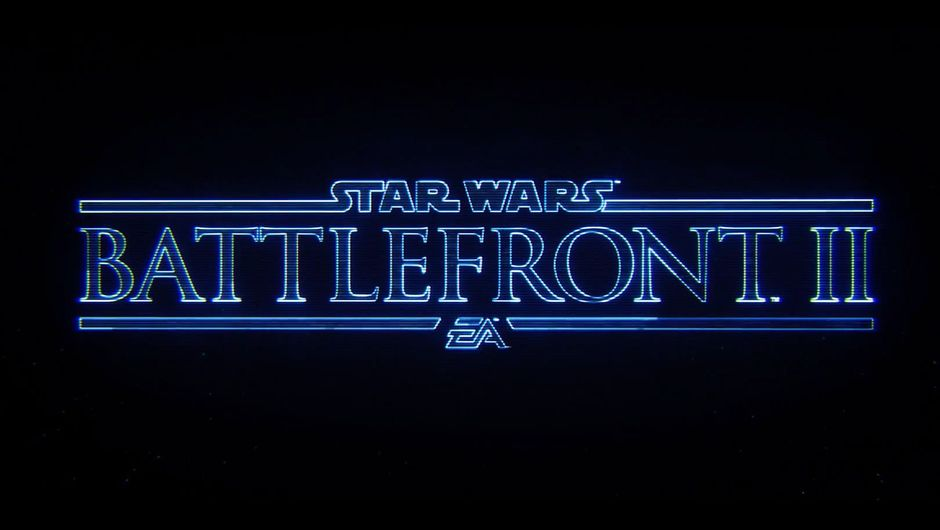 Star Wars Battlefront 2 logo in blue letters on a black background.