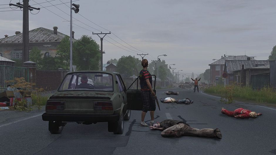 DayZ screenshot with zombies and a survivor near a car