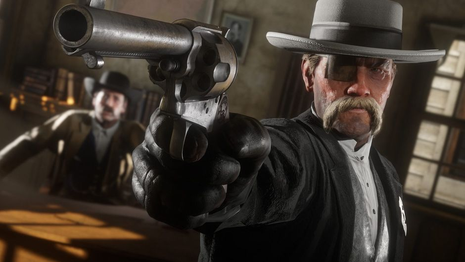 red dead online screenshot showing a man in black coat and hat holding a gun