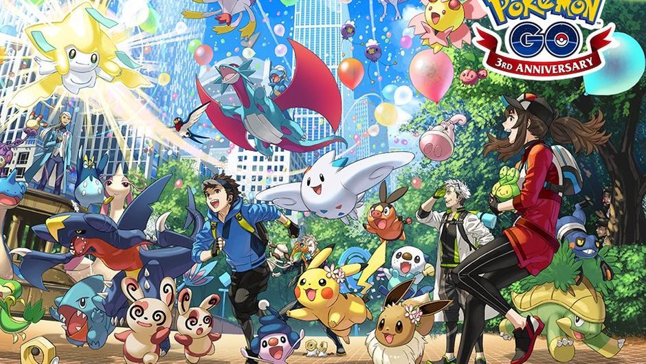 Picture of the third anniversary promotional material for Pokemon Go