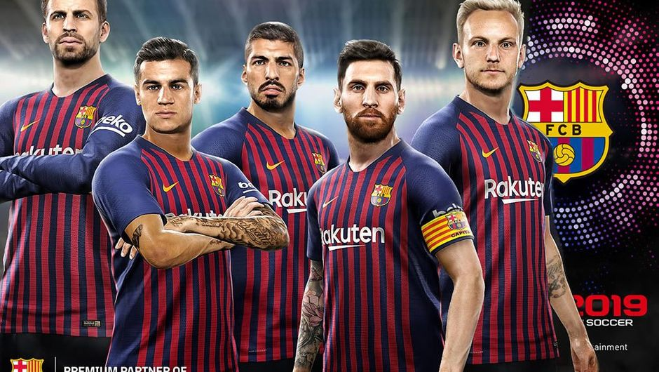 Poster showing Barcelona FC players in Konami's PES 2019